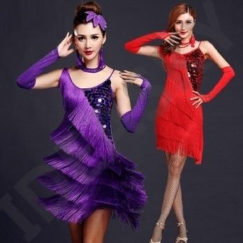 red latin dance costumes women salsa dancewear dance costume dresses ballroom competition dresses tango adult fringe gold sequin