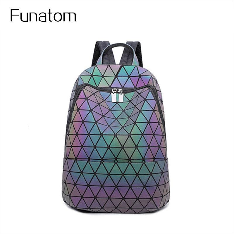 New women laser backpack Geometric Shoulder Bag Students School Bag Hologram Luminous backpack Laser silver baobao backpack<br>