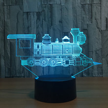 3D Night Light USB Novelty Gifts Cool Little Train Model Lamp 7 Colors Changing LED Desk Table Lamp As Home Decor Kids Xmas Gift(China)
