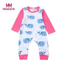 Baby rompers Newborn Infant Baby Girl Boy Whale Print Warm Romper Jumpsuit Baby Clothes drop ship(China)