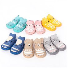 Cute Animals Shoe Socks For Baby Combed Cotton Anti Slip Boy Girl Indoor Socks Leather Sole Newborn Socks 0-24M Home Slippers(China)