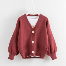 V-neck cardigan female autumn/winter 2017 new long-sleeved pure color restoring ancient ways