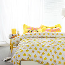 Cartoon smiling yellow stars linens 4pcs bedding sets high end cotton twin/single/double/queen size duvet cover set sheets sets(China)