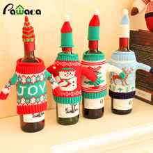 Christmas Plush Cute Snowman Doll Wine Bottle Covers Bag Red Xmas Gift Bags&Holders Dinner Party Table Decor New Years supplies