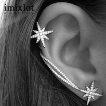 1PC Luxury Crystal Asymmetry Snowflake Star Ear Cuff Silver Plated Chain Clip Wrap Earrings For Women Fashion Jewelry