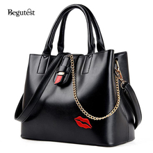 Fashion Women Handbags Casual Tote Large Capacity Woman Shoulder Bags High Quality PU Leather Handbags Embroidered Lips Bags