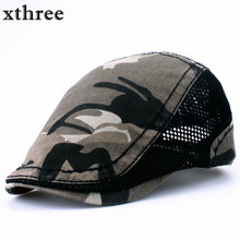 xthree Fashion camouflage Beret Cap sway cap Hats for Men and Women Visors Sun hat Gorras Planas Flat Caps Berets(China)