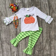 Halloween Fall/Winter baby girls pumpkin striped outfits kids cotton pant sets clothing kids ruffle with necklace and hairhows