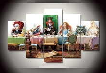 Canvas painting new 5 piece canvas art alice in wonderland Group Painting decoration for home poster canvas Free shipping\C-988