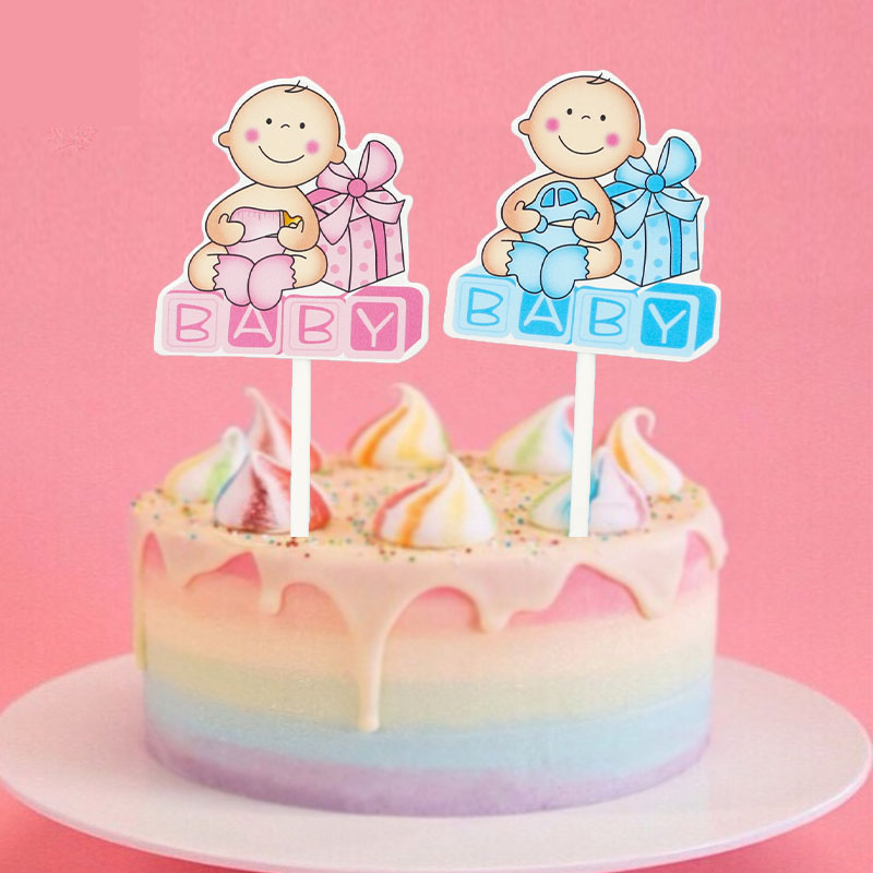 1set Cake Topper Happy Birthday Cupcake Toppers Cake Flags Baby Shower Baby Car Birthday Party Decor Children Kids Party Diy