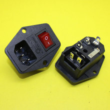 AD-061 IEC320 C14 AC Power Cord Inlet Socket Receptacle 250V 10A With ON-OFF Red Light Rocker Switch and Fuse Holder RoHs CE(China)