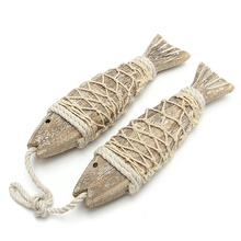 2 Pcs Mediterranean Style Rustic Coastal Hand Carved Hanging Wood Fish Ornaments Wall Sculptures For Home Shop Decor Handicrafts