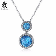 ORSA JEWELS Infinite Blue Brilliant Austrian Cubic Zirconia Pendant Silver Color Necklace for Women/Lover Fashion Jewelry ON122