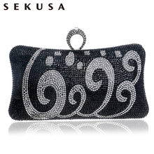 SEKUSA One Side Rhinestones Women Vintage Evening Bags Finger Rings Diamonds Small Purse Evening Bag For Wedding Party Bags