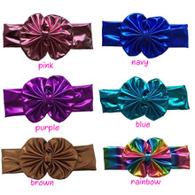 10pcs/lot Free Epacket/CPAP Metallic Messy Bow Head wraps, Jersey Knit Headwraps,Gold/Silver Knott Headband, Hair Accessory(China)