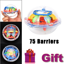 2017 High Quality 75 Barriers Mini Ball Maze Intellect 3d Puzzle Toy Balance Barrier Magic Labyrinth Spherical Great Educational(China)