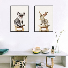 Sloth Raccoon Yellow Duck Rabbit Animal Nordic Poster Posters And Prints Art Print Canvas Pictures For Living Room Unframed(China)
