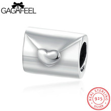 GAGAFEEL Envelope 925 Sterling Silver Bead Charm Fit For Original Pandora Bracelet Bangle Necklace Women Jewelry Smooth Design