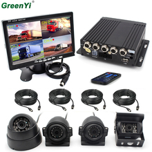 Sony CCD Car Camera Bus Truck Black Box Security Surveillance System 4CH 720P Mobile AHD DVR Realtime Video/Audio Recorder(China)