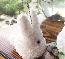 Kawaii White Totoro Doll , Mini 8CM Plush Stuffed Toy Doll ; Small BAG Pendant Child's Gift Keychain Plush Toy