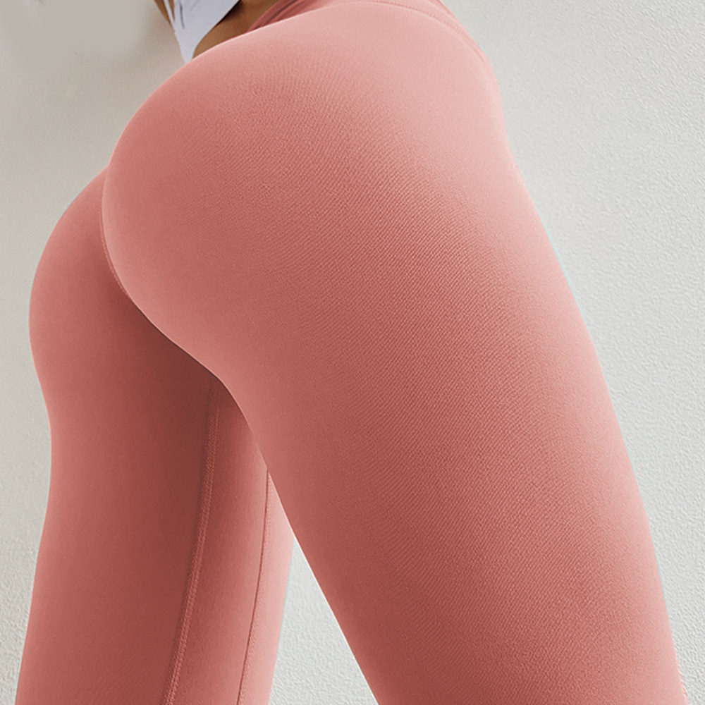 Solid Color Push Up Fitness Leggings For Women Double-sided Brocade High Waist Compression title=