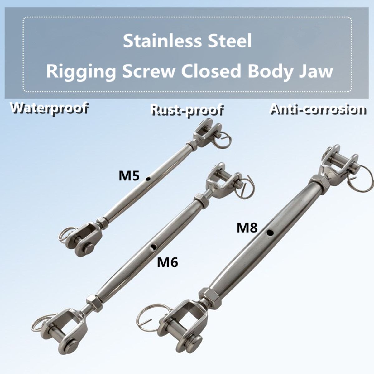 "Closed Body Marine Turnbuckle 1//4"" Jaw Jaw 6mm 316 STAINLESS STEEL Rigging Screw"