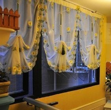 1 piece Daisy embroidery rustic Balloon curtain the finished kitchen curtain Pull-up curtain(China)