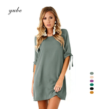 Buy 2018 New Fashion 6 Solid Color Long Sleeve Women Dress Bowknot Chiffon Dress Casual Clothing Summer Style O Neck Bodycon Dress for $8.92 in AliExpress store