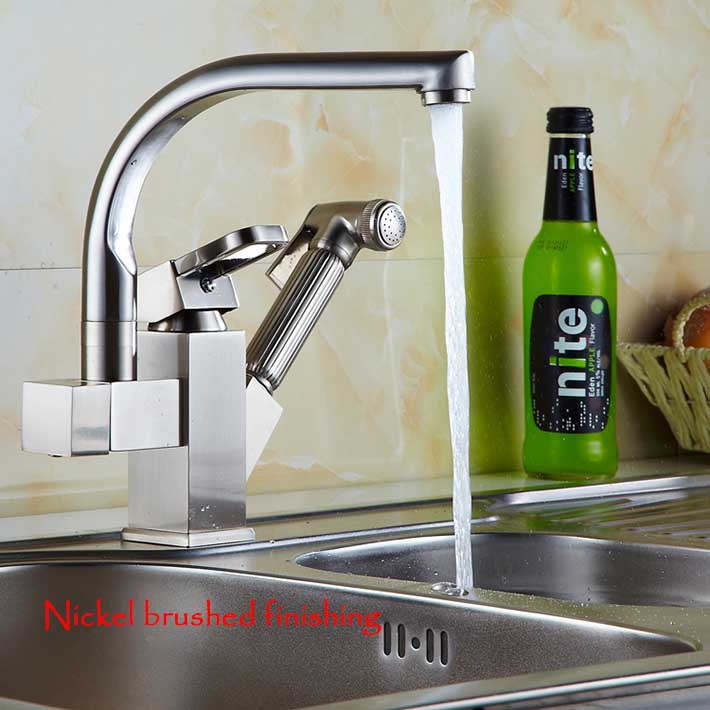 360 Degree Swivel Pull Out Kitchen Faucet  Chrome gold nickel brush Basin Mixer Brass Tap Vessel Vanity Sink Lavator Deck Mount<br><br>Aliexpress
