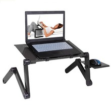 Portable Foldable Adjustable Laptop Desk Computer Table Stand Tray Notebook Lap PC Folding Desk Table with Mouse with fan(China)