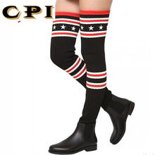 CPI Brand Socks Boots Women 넘 다 니 (High) 저 (부츠 Autumn Winter 니트 Shoes 긴 허벅지 (High) 저 (부츠 Elastic Slim AC-74(China)