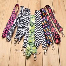 Universal Nylon 90cm Mobile Phone Strap Neck Long Lanyard ID Card Phone Badge Bag Chain Holder Stripe Heart Pattern Portable