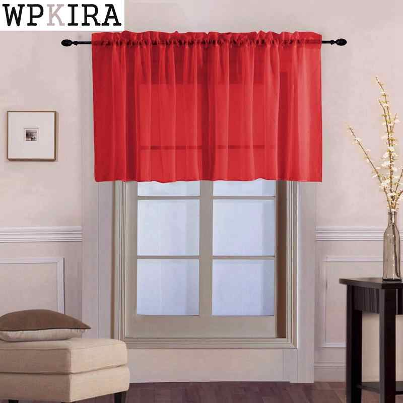 Window Voile Drapes Roman Tulle Kitchen Pure Color Simple Sheer Short Curtains Valance For bay Window Door Decoration 184&30