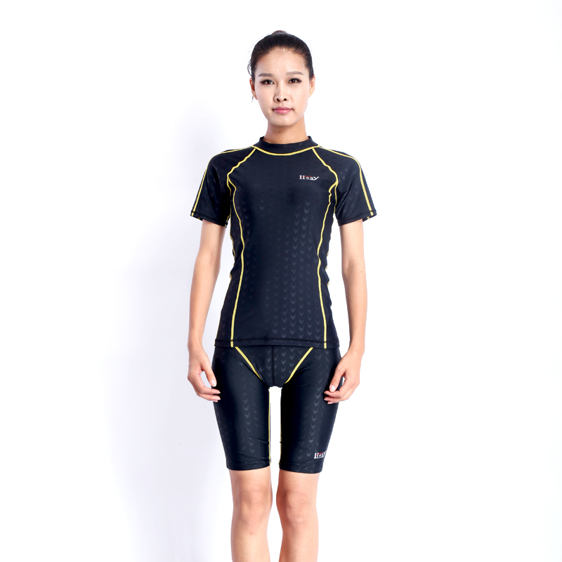 HXBYswimsuit female two piece swimsuits racing swimwear women swimming short sleeve swim shirts rushguard professional sharkskin<br>