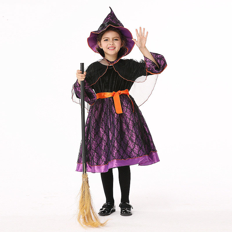 Fancy Children Halloween Performance Witch Dress Costume Girls Cosplay Witch Halloween Dresses With Shawl and Hat<br>