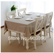 Free shipping-Contracted the Nordic style Pure color washed linen table cloth-(140*140cm)only 1pcs table cloth(China)