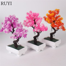 1 Set simulation flower bonsai fake plant decoration for office table accessorie artificial flower + vase party Christmas decor