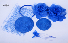 Wholesale Attractive multiple color Royal blue DIY sinmay fascinator hat bridal fascinator for wedding Races party.FREE SHIPPING