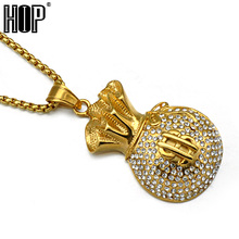 HIP Hop Gold Color Stainless Steel Iced Out Bling US Dollars Purse Pendants Necklaces for Men Jewelry(China)
