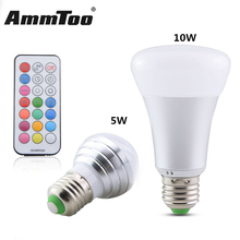5W 10W E27 RGBW LED Bulb Colorful Light RGB + White Timing Function Dimmable LED Lamp 220V 110V Lampada Led + Remote Controller(China)