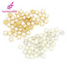 Lucia crafts 100pcs/lot 7mm Plating pearl Rhinestone Beads Sew On Rhinestones for Garment DIY Bag shoes accessories 003018057(China)