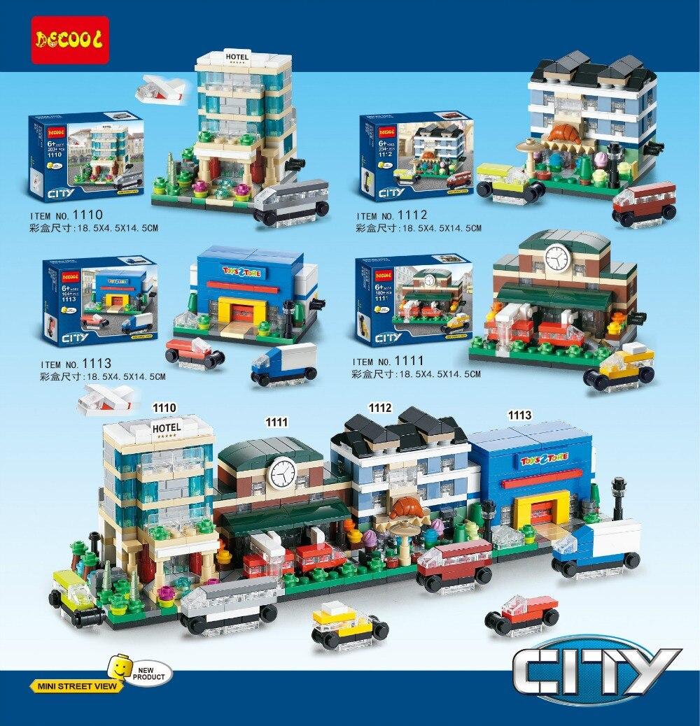 2016 New 4pcs/lot Decool 1110-1113 City Mini Street View Minifigures Hotel/Train Station Building Blocks Sets Model Toys LG<br><br>Aliexpress