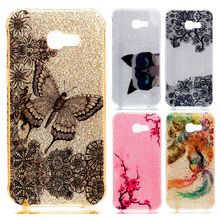 For Coque Samsung Galaxy A5 2017 Case Silicone Glitter Bling Soft Cover Samsung Galaxy A5 2017 A520 Flower Butterfly Phone Cases(China)