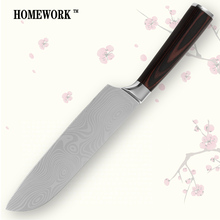 Santoku knife 7 inch kitchen knife durable sharp 7CR17 stainless steel damascus veins new cooking tools hot sell single-product(China)