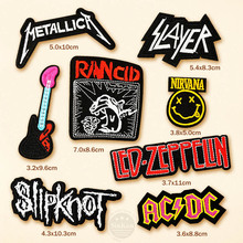 8pcs/lot Slipknot NIRVANA RANCID AC/DC BAND Badges DIY Embroidery Patches Applique Clothes Clothing Sewing Supplies Decorative