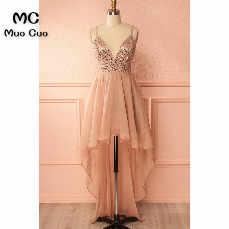 Shinning sequins high low champagne chiffon homecoming dress, long straps party dresses
