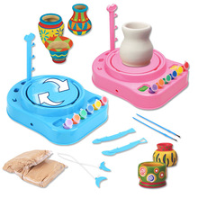 Mini DIY Handmake Ceramic Pottery Machine Pottery Wheels Kids Arts Craft Educational Gift Toy For Children(China)