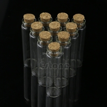 Hot Sale 10pcs 20mL Mini Small Tiny Clear Cork Stopper Glass Bottles Vials Wholesale H06