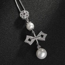 2016 AAA Quality Unique Design Pearl Necklace  Fashion Flower Shape Cubic Zirconia  Necklace for Women