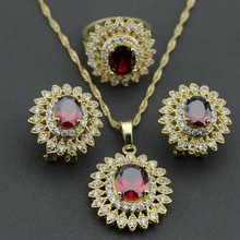 Hight Quality Flower Rhodolite White Crystal GP Jewelry Set For Women Necklace Chain Pendant Earring Ring Free Gift Box KZ05(China)